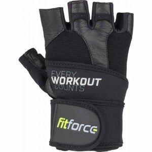 Fitforce LINEAR  2xl - Kožené fitness rukavice
