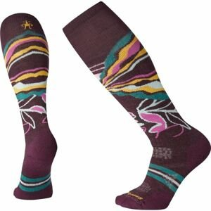 Smartwool PHD SKI MEDIUM PATTERN vínová S - Dámske lyžiarske ponožky