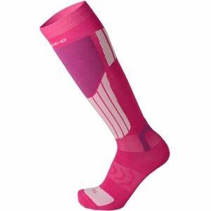 Mico LIGHT WEIGHT NATURAL MERINO SKI SOCKS ružová XXL - Lyžiarske podkolienky