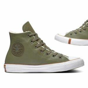 Converse CHUCK TAYLOR ALL STAR FAUX SHEARLING tmavo zelená 41 - Dámske zimné tenisky