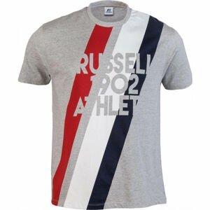 Russell Athletic STRIPE 1902 S/S CREWNECK TEE SHIRT šedá XXL - Pánske tričko