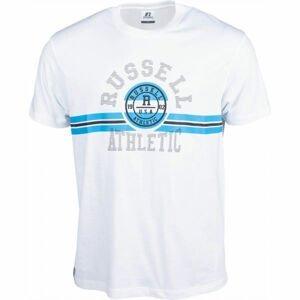 Russell Athletic COLLEGIATE STRIPE CREWNECK TEE SHIRT biela L - Pánske tričko