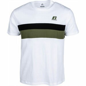 Russell Athletic STRIPED PANEL CREWNECK TEE SHIRT biela XXL - Pánske tričko