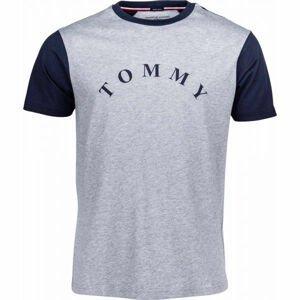Tommy Hilfiger CN SS TEE LOGO šedá XL - Pánske tričko