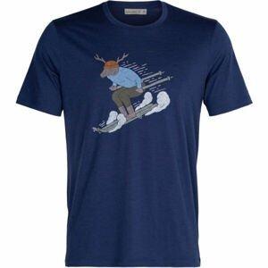 Icebreaker M TECH LITE II SS TEE SKI RIDER ROYAL   M - Pánske tričko z merina