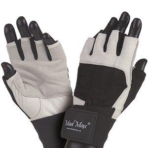 Fitness rukavice Mad Max Professional bielo-čierna - S