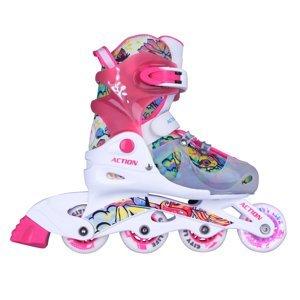 Detské nastaviteľné korčule Action Doly so svietiacimi kolieskami ružová - XS (26-29)