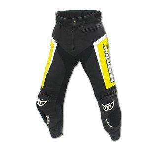 Kožené moto nohavice Berik LP-10556-BK Fluo Yellow čierno-žltá - XL