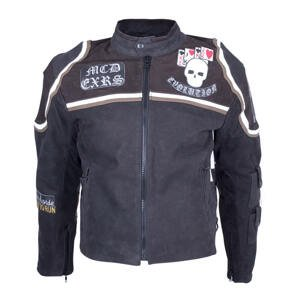 Kožená moto bunda Sodager Micky Rourke čierna s grafikou - XL