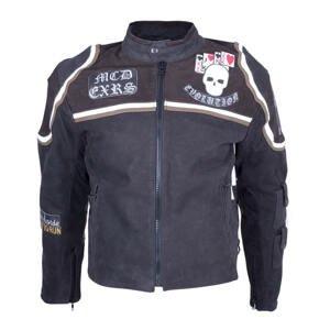 Kožená moto bunda Sodager Micky Rourke čierna s grafikou - XXL