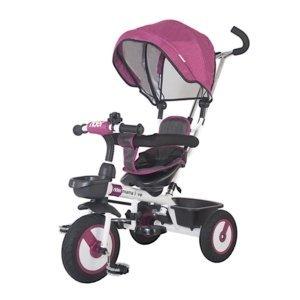 Detská trojkolka s vodiacou tyčou MamaLove Rider fialová