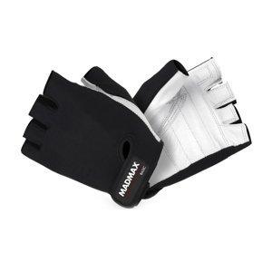 Fitness rukavice MadMax Basic bielo-čierna - M