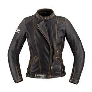 Dámska kožená moto bunda W-TEC Black Heart Lizza vintage hnedá - XL