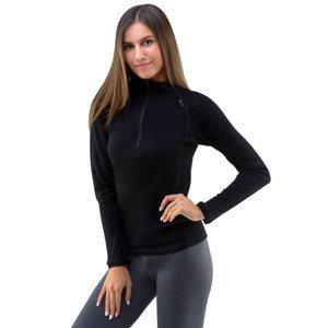 Dámske tričko s dlhým rukávom Merino Bamboo čierna - XL