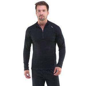 Pánske tričko s dlhým rukávom Merino Bamboo čierna - XXL