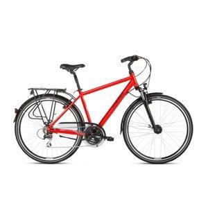 """Pánsky trekingový bicykel Kross Trans 3.0 28"""" - model 2021 čierna/červená/strieborná - L (21'') - Záruka 10 rokov"""