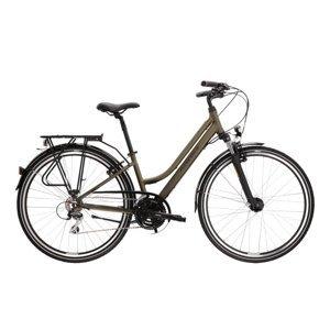 "Dámsky trekingový bicykel Kross Trans 3.0 28"" - model 2021 khaki/čierna - L (19"") - Záruka 10 rokov"
