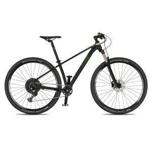 """Juniorský horský bicykel 4EVER Dark Sport 29"""" - model 2021 čierna/metal zelená - 15,5"""" - Záruka 10 rokov"""