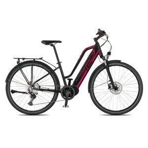 """Dámsky trekingový elektrobicykel 4EVER Marianne Sport Trek - model 2021 čierna / ružová - 18"""" - Záruka 10 rokov"""