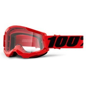 Motokrosové okuliare 100% Strata 2 červená, číre plexi