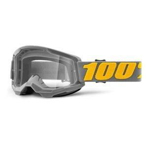 Motokrosové okuliare 100% Strata 2 Izipizi šedo-žltá, číre plexi