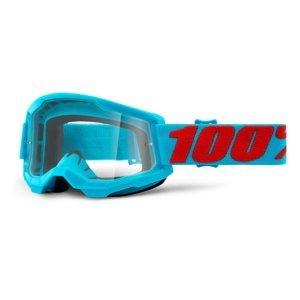 Motokrosové okuliare 100% Strata 2 Summit tyrkysovo-červená, číre plexi