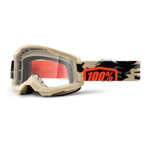 Motokrosové okuliare 100% Strata 2 Kombat béžovo-oranžová, číre plexi