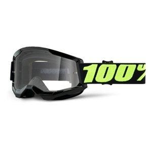 Motokrosové okuliare 100% Strata 2 Upsol čierno-fluo žltá, číre plexi