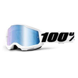 Motokrosové okuliare 100% Strata 2 Mirror Everest bielo-čierna, zrkadlové modré plexi