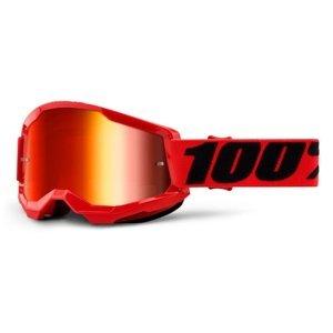 Motokrosové okuliare 100% Strata 2 Mirror červená, zrkadlové červené plexi