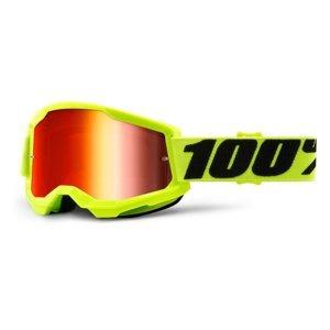 Motokrosové okuliare 100% Strata 2 Mirror žltá, zrkadlové červené plexi