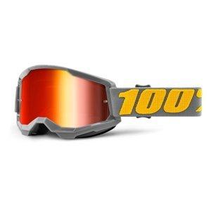 Motokrosové okuliare 100% Strata 2 Mirror Izipizi šedo-žltá, zrkadlové červené plexi