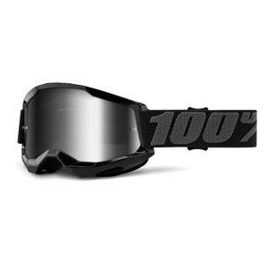 Motokrosové okuliare 100% Strata 2 Mirror čierna, zrkadlové strieborné plexi