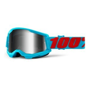 Motokrosové okuliare 100% Strata 2 Mirror Summit tyrkysovo-červená, zrkadlové strieborné plexi
