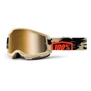 Motokrosové okuliare 100% Strata 2 Mirror Kombat béžovo-oranžová, True zlaté plexi