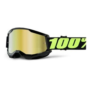 Motokrosové okuliare 100% Strata 2 Mirror Upsol čierno-fluo žltá, zrkadlové zlaté plexi