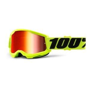Detské motokrosové okuliare 100% Strata 2 Youth Mirror žltá, zrkadlové červené plexi