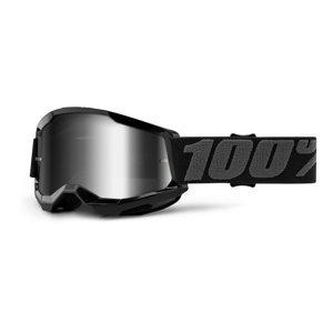 Detské motokrosové okuliare 100% Strata 2 Youth Mirror čierna, zrkadlové strieborné plexi