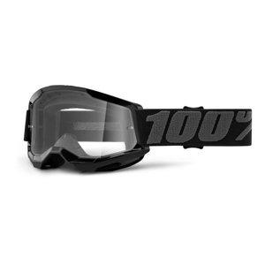 Detské motokrosové okuliare 100% Strata 2 Youth čierna, číre plexi