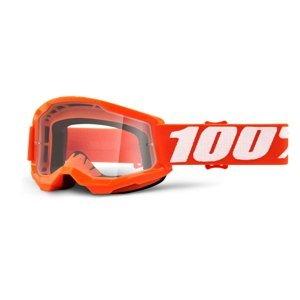 Detské motokrosové okuliare 100% Strata 2 Youth Orange oranžová, číre plexi