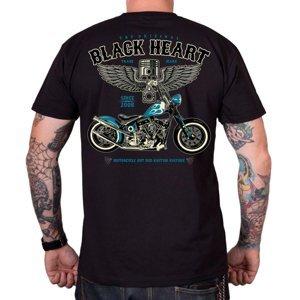 Tričko BLACK HEART Blue Chopper čierna - XXL