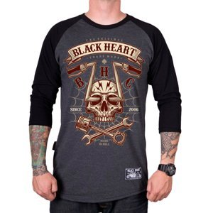 Tričko BLACK HEART Chopper Skull RG šedá - XL