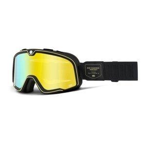 Motokrosové okuliare 100% Barstow Caliber čierna, zrkadlové žlté plexi