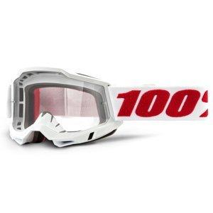 Motokrosové okuliare 100% Accuri 2 Denver bielo-červená, číre plexi